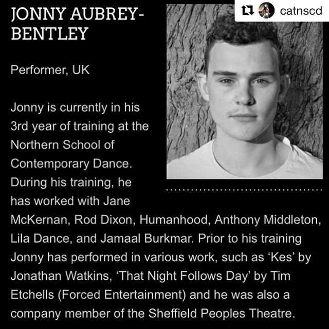 @catnscd with @get_repost ・・・ Congratulations to @catnscd alumni Jonny who will be touring in @vincentdancetheatreuk production 'Shut Down @natdancecatuk @cypdnn
